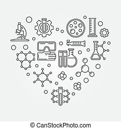 Chemistry heart creative symbol. Vector chemistry illustration