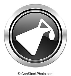 chemistry icon, black chrome button