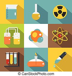 Chemistry icon set, flat style
