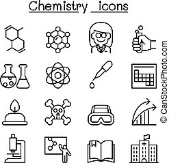 Chemistry icon set in thin line style