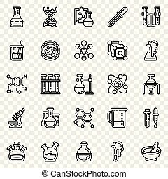 Chemistry icon set, outline style