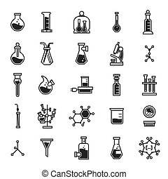 Chemistry icon set, simple style