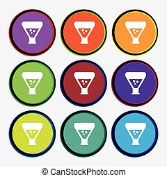 chemistry icon sign. Nine multi colored round buttons. Vector