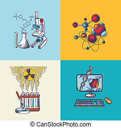 Chemistry icon sketch composition - Four decorative...