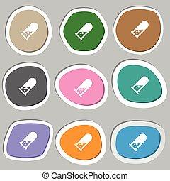 chemistry icon symbols. Multicolored paper stickers. Vector