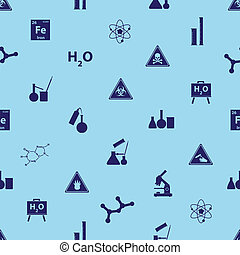 chemistry icons blue pattern eps10