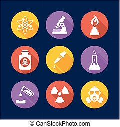 Chemistry Icons Flat Design Circle
