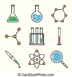 Chemistry icons set. Collection of outline symbols for web site design and mobile apps. Vector illustration on a white background.