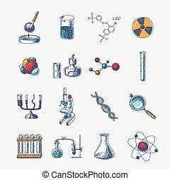 Chemistry icons set - Chemistry scientific dna molecule...