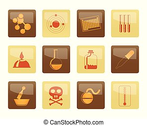 Chemistry industry icons over brown background
