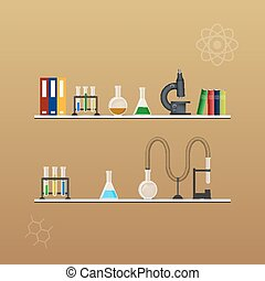 Chemistry infographic conical flasks and beakers with...