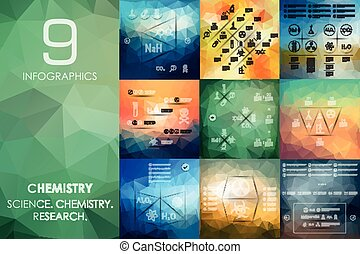 chemistry infographic with unfocused background