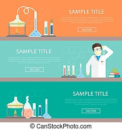 chemistry lab banners set chemistry lab banners vector science