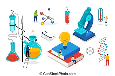 Chemistry lab and school class, science, education scene with miniature people, students. Isometric concept design