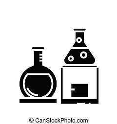 Chemistry lab black icon, concept illustration, vector flat symbol, glyph sign.