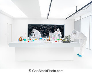 chemistry lab examination - general-view of three scientists...