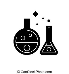 chemistry lab - experiments icon, vector illustration, black sign on isolated background