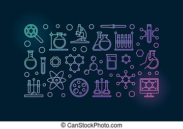 Chemistry lab illustration - vector colorful science and...