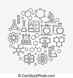 Chemistry lab round illustration