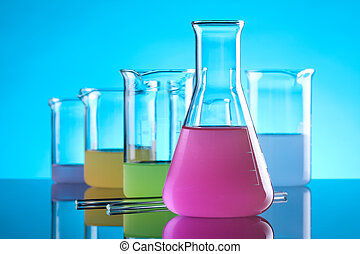 Chemistry - Laboratory Glassware - chemical flasks with...