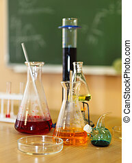 Chemistry laboratory glassware with liquid formula