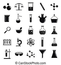 Chemistry laboratory icon set, simple style