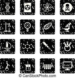 Chemistry laboratory icons set grunge vector