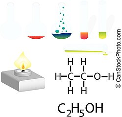 Chemistry Laboratory Infographic. Experiment in a chemistry lab