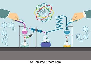Chemistry laboratory infographic flat elements vector illustration.