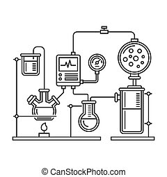 Chemistry Laboratory Infographic with Some Reaction. Line Style Vector