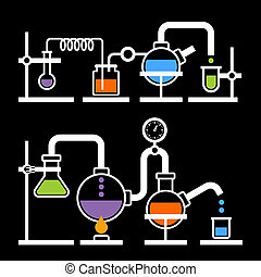 Chemistry Laboratory Infographic with Some Reaction on Black...