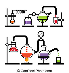 Chemistry Laboratory Infographic with Some Reaction. Vector