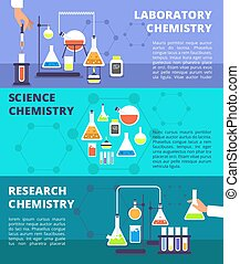Chemistry laboratory research lab and science technology, biological lab experiment vector banners set