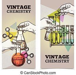 Chemistry laboratory vintage vertical banners set