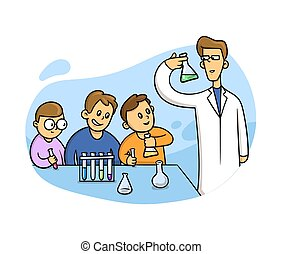 Chemistry lesson in classroom. Kids in laboratory. Flat style vector illustration isolated on white background.