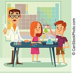 Chemistry lesson. Teacher and pupils characters. Vector flat cartoon illustration