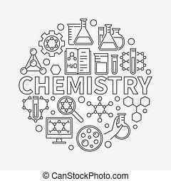 Chemistry line round illustration