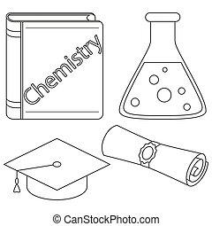 Chemistry mastering study icon set
