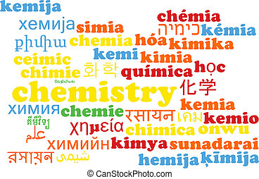 Chemistry multilanguage wordcloud background concept