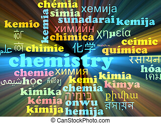 Chemistry multilanguage wordcloud background concept glowing