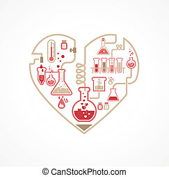 Chemistry of Love, vector background, Valentine's day card