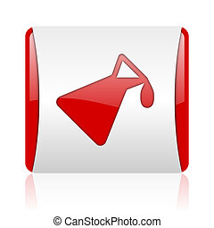 chemistry red and white square web glossy icon