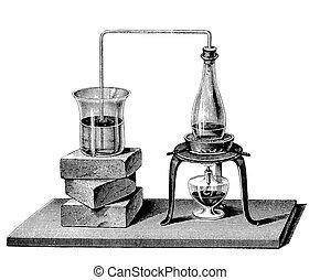 chemistry:, riscaldamento, vicino, vapore