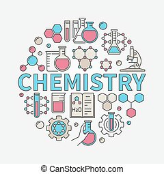 Chemistry round colorful illustration