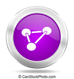 chemistry round glossy pink silver metallic icon, modern design web element