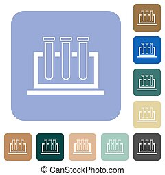 Chemistry white flat icons on color rounded square backgrounds