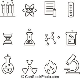 Chemistry science and bio technology line icons. Biology molecular,  vector