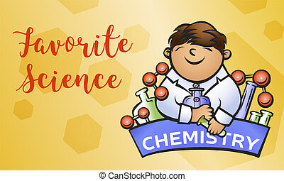 Chemistry science concept banner, cartoon style