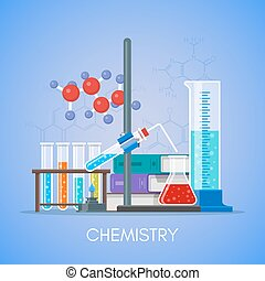 Chemistry science education concept vector poster in flat...