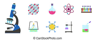 Chemistry science icon set, flat style